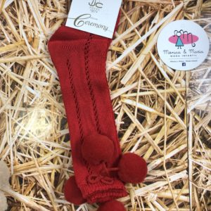 calcetin bola rojo